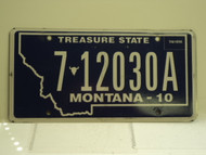 2010 MONTANA Treasure State License Plate 7 12030A