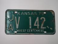 1975 KANSAS Wheat Centennial License Plate JA V 142