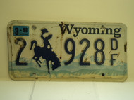1998 WYOMING Bucking Bronco License Plate 2 928 DF