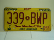 1997 NEW MEXICO Land of Enchantment License Plate 339 BWp