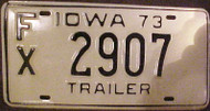 1973 Iowa FX 2907 Trailer License Plate