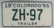 1965 Colorado ZH-97 Trailer License Plate