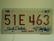 1987 SOUTH DAKOTA Centennial 1889 1989 License Plate 51E 463 1