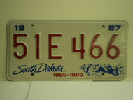 1987 SOUTH DAKOTA Centennial 1889 1989 License Plate 51E 466