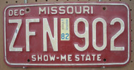1982 Dec Missouri ZFN-902 License Plate DMV Clear YOM