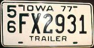 1977 Lee Co Iowa Trailer License Plate FX 2931
