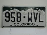 COLORADO License Plate 958 WVL