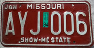 1984 Jan Missouri License Plate AYJ 006 DMV Clear