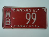 1965 KANSAS Midway USA License Plate WB 99