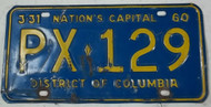 1960 3-31 District of Columbia PX-129 License Plate