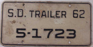 1962 SD South Dakota Trailer 5-1723 License Plate
