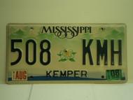 2008 MISSISSIPPI License Plate 508 KMH