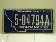 2010 MONTANA Treasure State License Plate 5 04794A