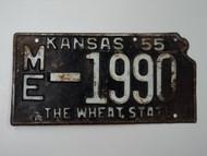 1955 KANSAS State Shaped License Plate ME 1990