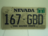 1996 NEVADA Silver State License Plate 167 GBD