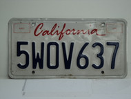 CALIFORNIA Lipstick License Plate 5WOV637