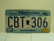 2002 MINNESOTA Explore 10,000 Lakes License Plate CBT 306