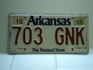 2008 ARKANSAS Natural State License Plate 703 GNK