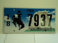 WYOMING Bucking Bronco Devils Tower Truck License Plate 18 7937