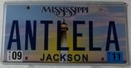 2011 Sep Mississippi Vanity License Plate ANTLELA