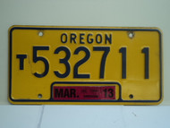 2013 OREGON Truck License Plate T532711 1