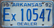 1992 Arkansas License Plate Ex 10547 DEALER