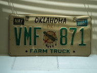 2003 OKLAHOMA Farm Truck License Plate VMF 871