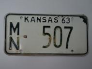1963 KANSAS License Plate MN 507