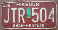1984 Jun Missouri JTR-504 License Plate DMV Clear YOM