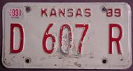 1993 Kansas D 607 R DEALER License Plate