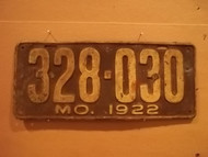 1922 Missouri 328 030 license plate DMV clear