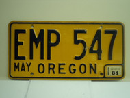 1981 OREGON License Plate EMP 547