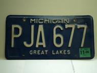 2000 MICHIGAN Great Lakes License Plate PJA 677