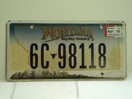 2007 MONTANA Big Sky License Plate 6C 98118
