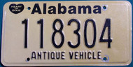 Alabama Antique Vehicle License Plate 118304 HOD