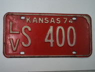 1974 KANSAS License Plate LV S 400