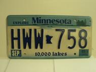 2003 MINNESOTA Explore 10,000 Lakes License Plate HWW 758