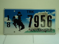 WYOMING Bucking Bronco Devils Tower Truck License Plate 18 7956