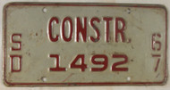 1967 South Dakota Construction 1492 License Plate