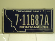2010 MONTANA Treasure State License Plate 7 11687A