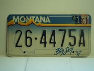 1999 MONTANA Big Sky License Plate 26 4475A