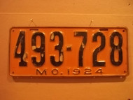 1924 Missouri 493 728 license plate DMV clear