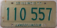 1977 Illinois 110 557 License Plate