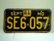 1961 Missouri License Plate SE6 057 DMV CLEAR