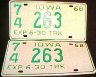 1968 Iowa 74 Palo Alto Truck License Plate PAIR