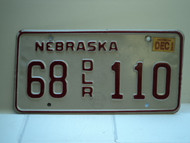 2002 NEBRASKA Dealer License Plate 68 DLR 110