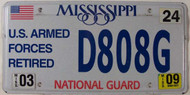 2009 Mar Mississippi National Guard License Plate