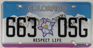 Colorado Respect Life 663 OSG License Plate