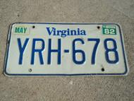 1982 VIRGINIA License Plate YRH 678