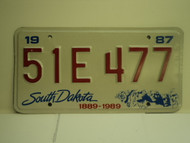 1987 SOUTH DAKOTA Centennial 1889 1989 License Plate 51E 477 1